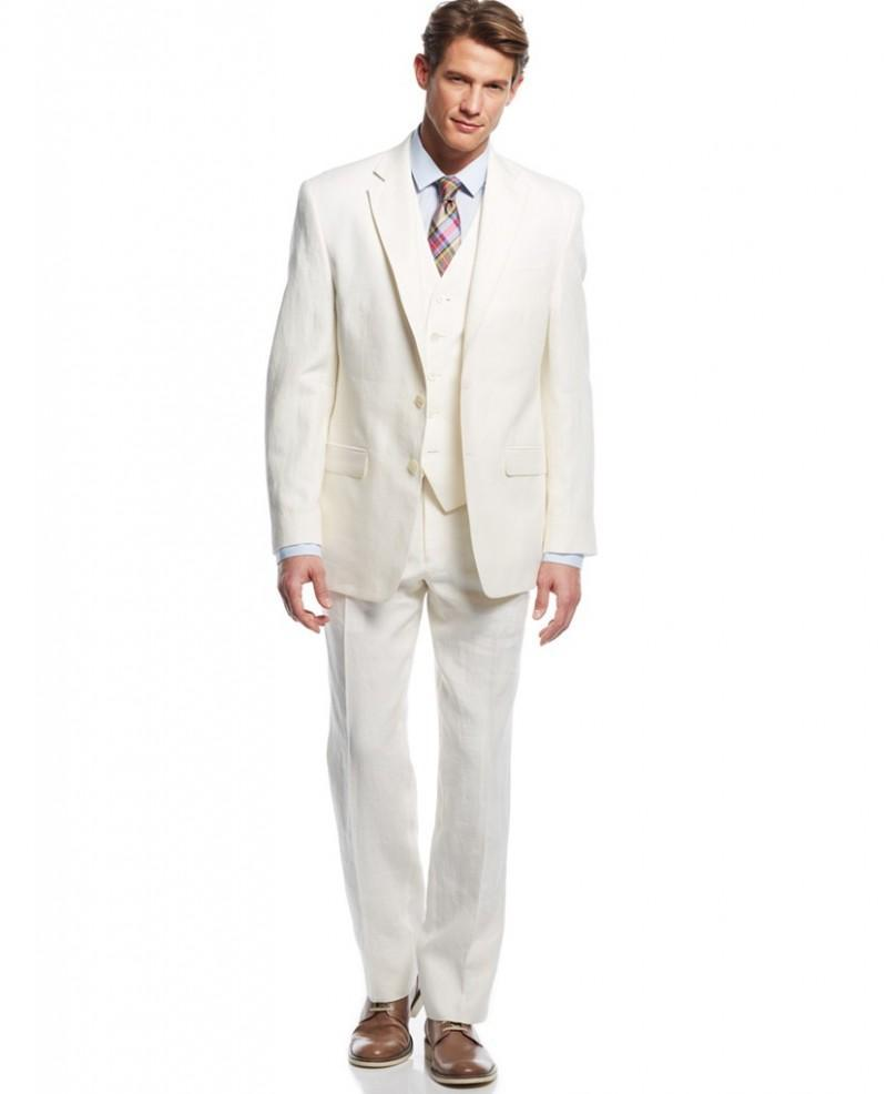 Wholesale - Summer Cool Grooms Tuxedos Ivory Linen Suits Notched ...