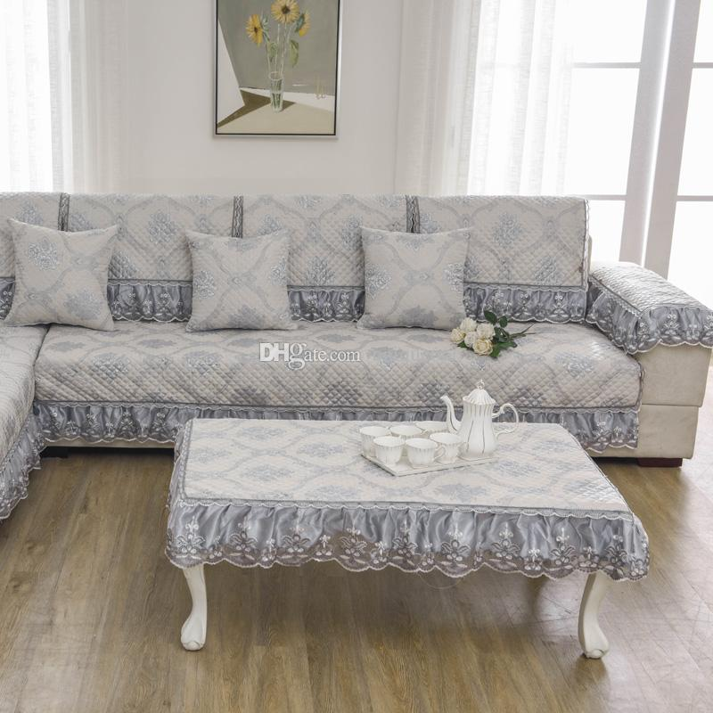 Unique Light Grey Sofa Pillow Couch Cushion Sofa Cover Slipcovers Pastoral  Style Furniture Protector Mat Carpet Blanket Cotton Four Seasons Sofa Cover  ...