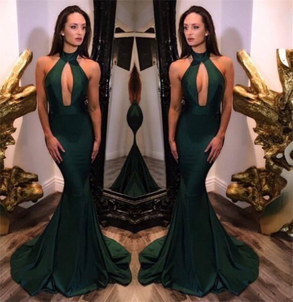 Dark Green Keyhole High Neck Mermaid Evening Dresses Sexy ...