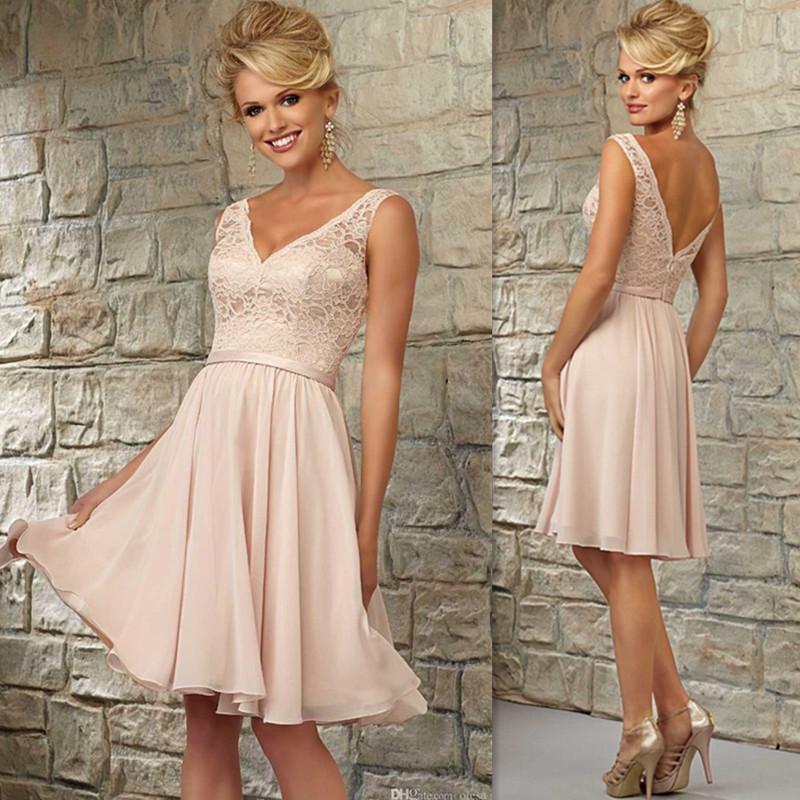 Short Bridesmaid Dresses 2016 Blush Pink Lace V Neck Knee