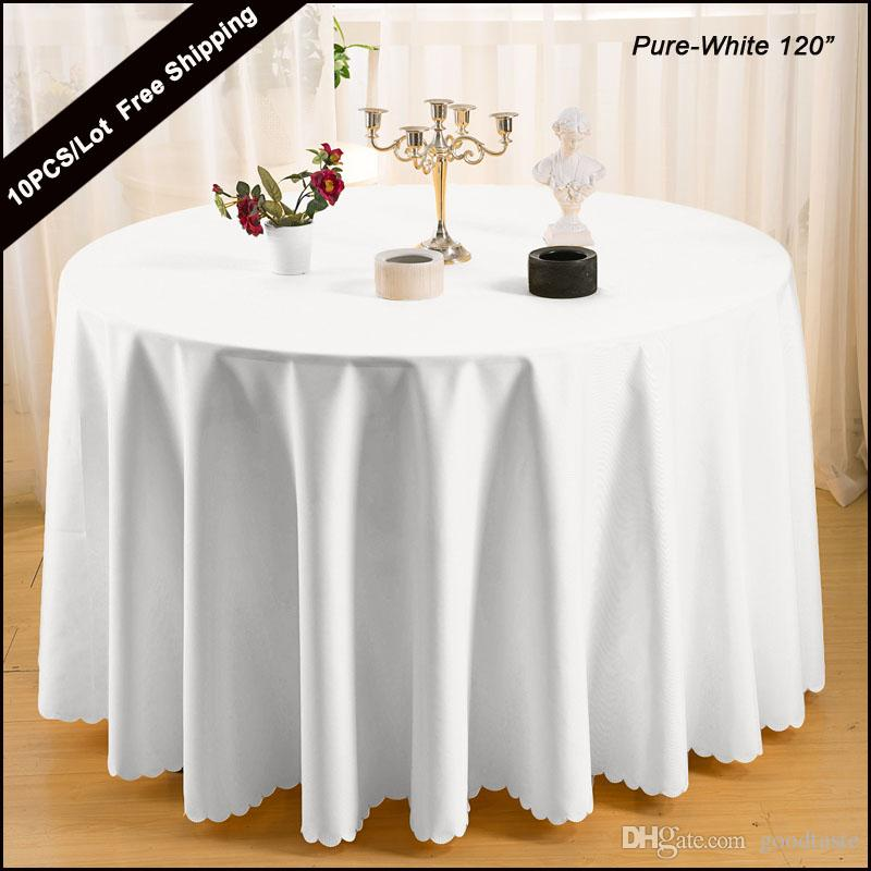 2016 polyester plain white 120 round modern table cover for 120 round plastic table covers