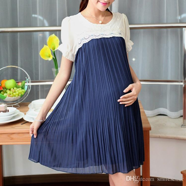 2017 Wholesale Plus Size Casual Maternity Dress Chiffon Pleated ...