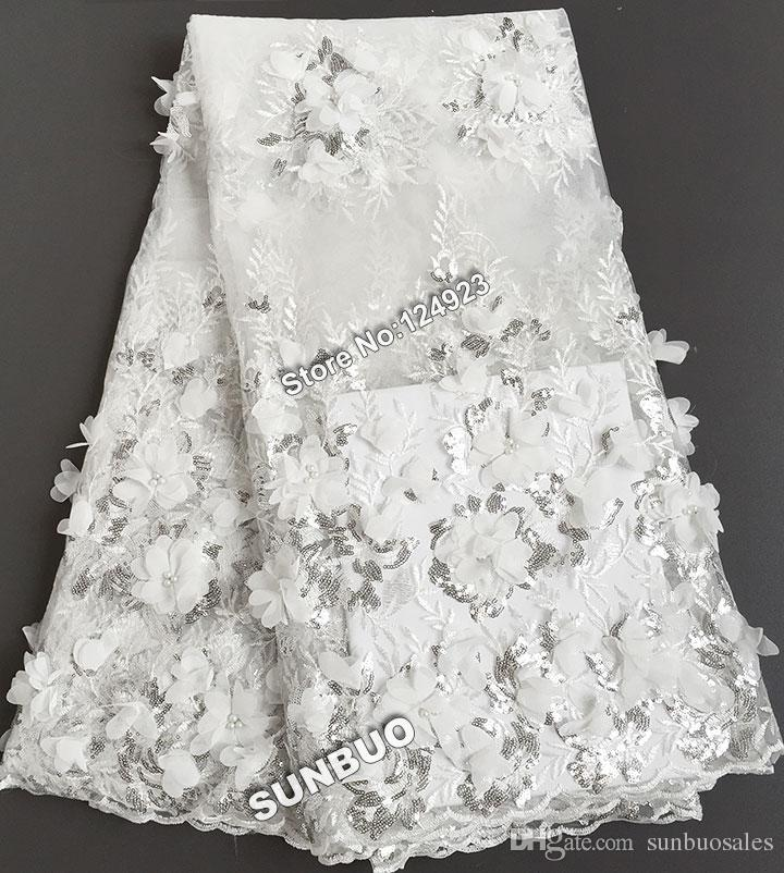 2017 white unque top class french lace bridal african for French lace fabric for wedding dresses
