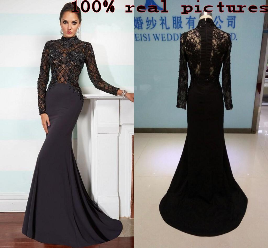 Black Beaded Mermaid Evening Dresses Lace Appliqued Long Sleeves ...