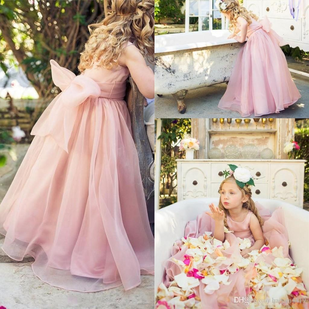 2016 New Cheap Flower Girls Dresses For Wedding Jewel Neck Organza Pink Princ