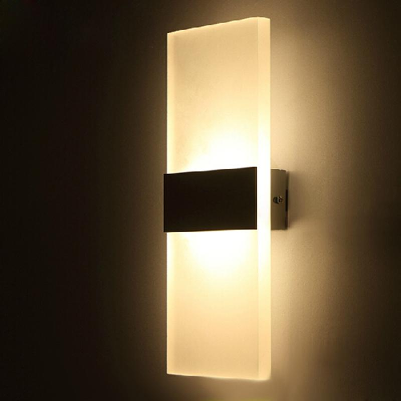 Acrylic 12w Led Wall Light Up Down Ac220v Ac110v Led Stair Bedside Lamp Bedroom Reading Wall Lamp Porch Stair Decoration Light Led Wall Lamp Modern Wall