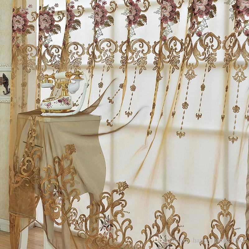 European Style Lace Cuitains Simulation Silk Flower Embroidery Living Room Bedroom  Curtains Elegant Valance Curtain Vertical Hanging #Gauze Living Room ...