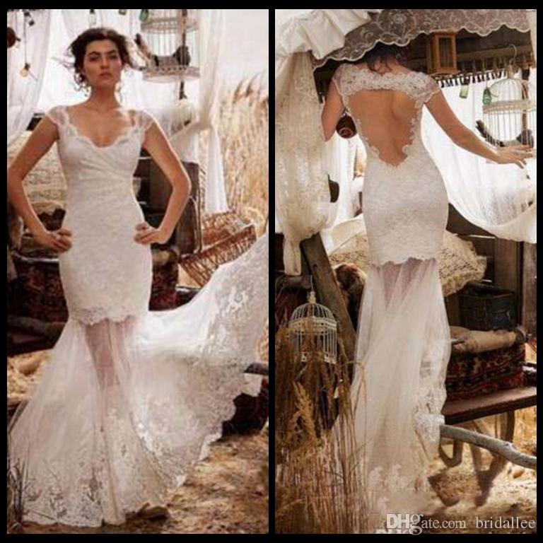 Cap sleeves mermaid wedding dresses 2017 romantic country for Vintage italian wedding dresses