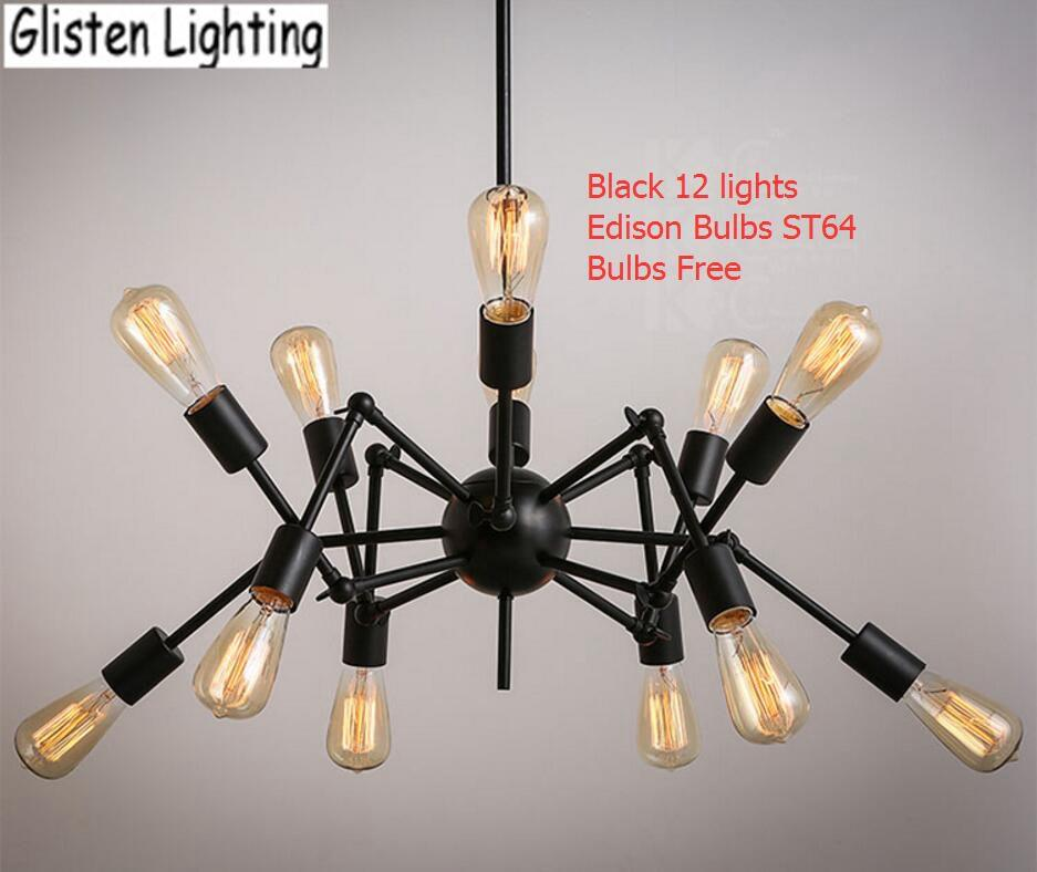 Discount Spider Chandelier Vintage Wrought Iron Pendant Lamp Loft American Style Lighting