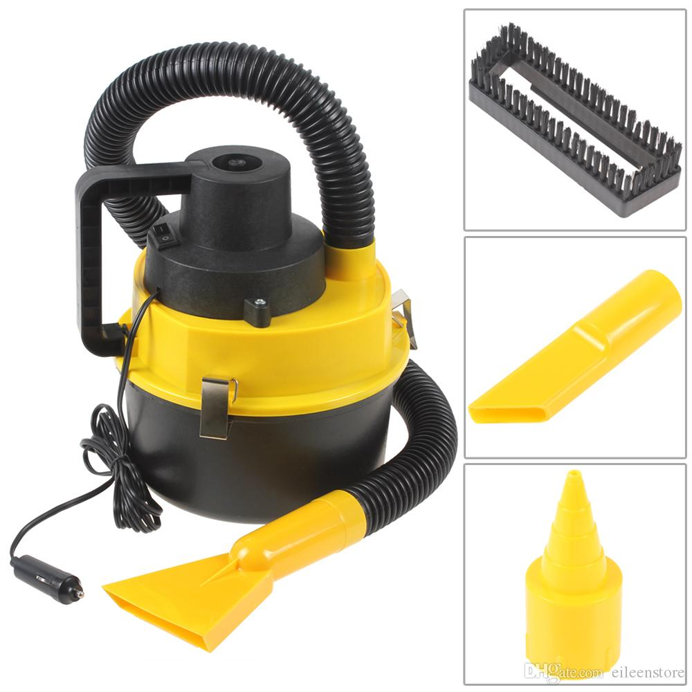Portable 12v wet dry auto car dust vacuum cleaner with brush nozzle crevice head with cigarette lighter for cleaning inflating cde_918 car vacuum car