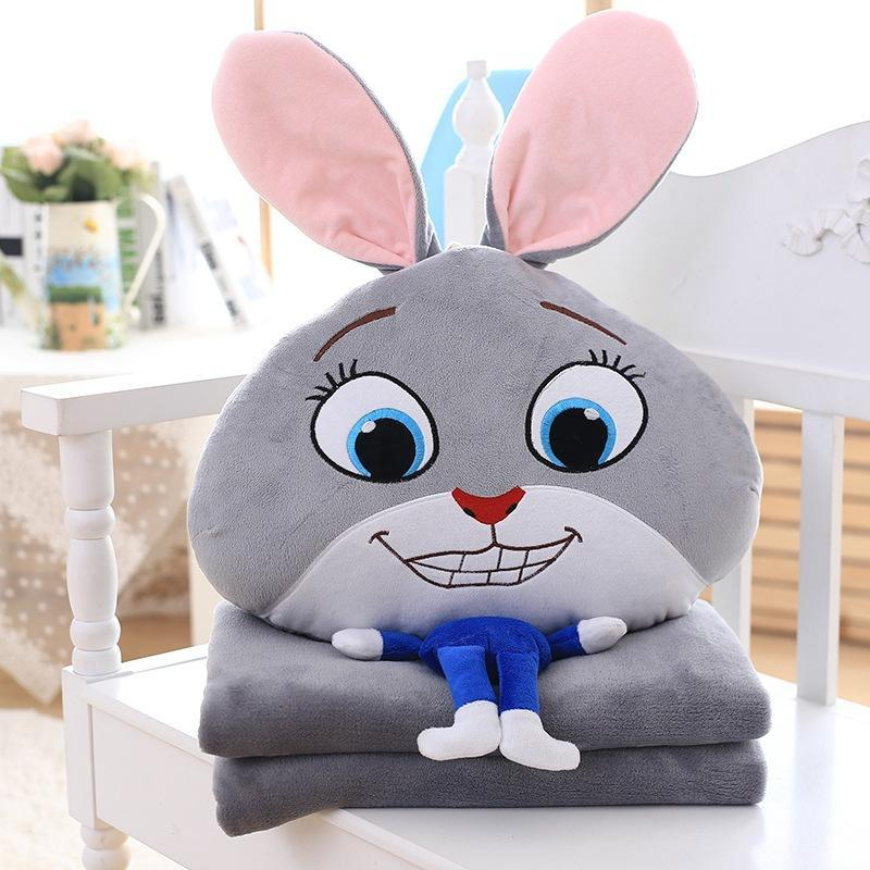 Animal Pillow And Blanket : Zootopia Cushion Blankets Crazy Animal City Plush Air Conditioning Blanket Cartoon Pillows Nick ...