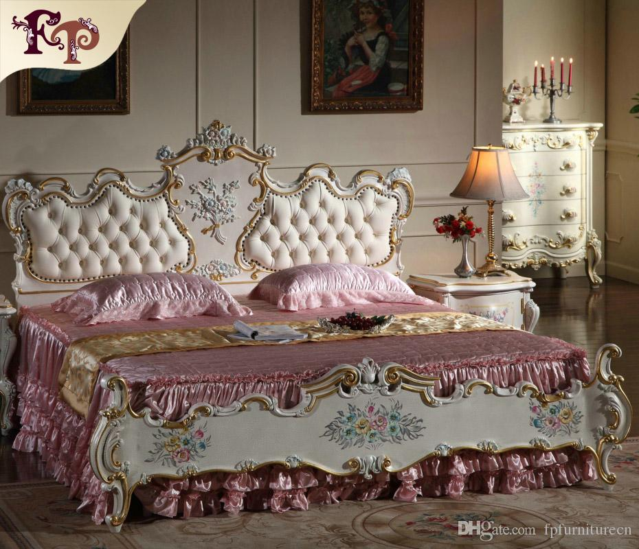 2018 French Provincial Furniture Bedroom Rococo Style Queen Bed High End Classic Villa Furniture