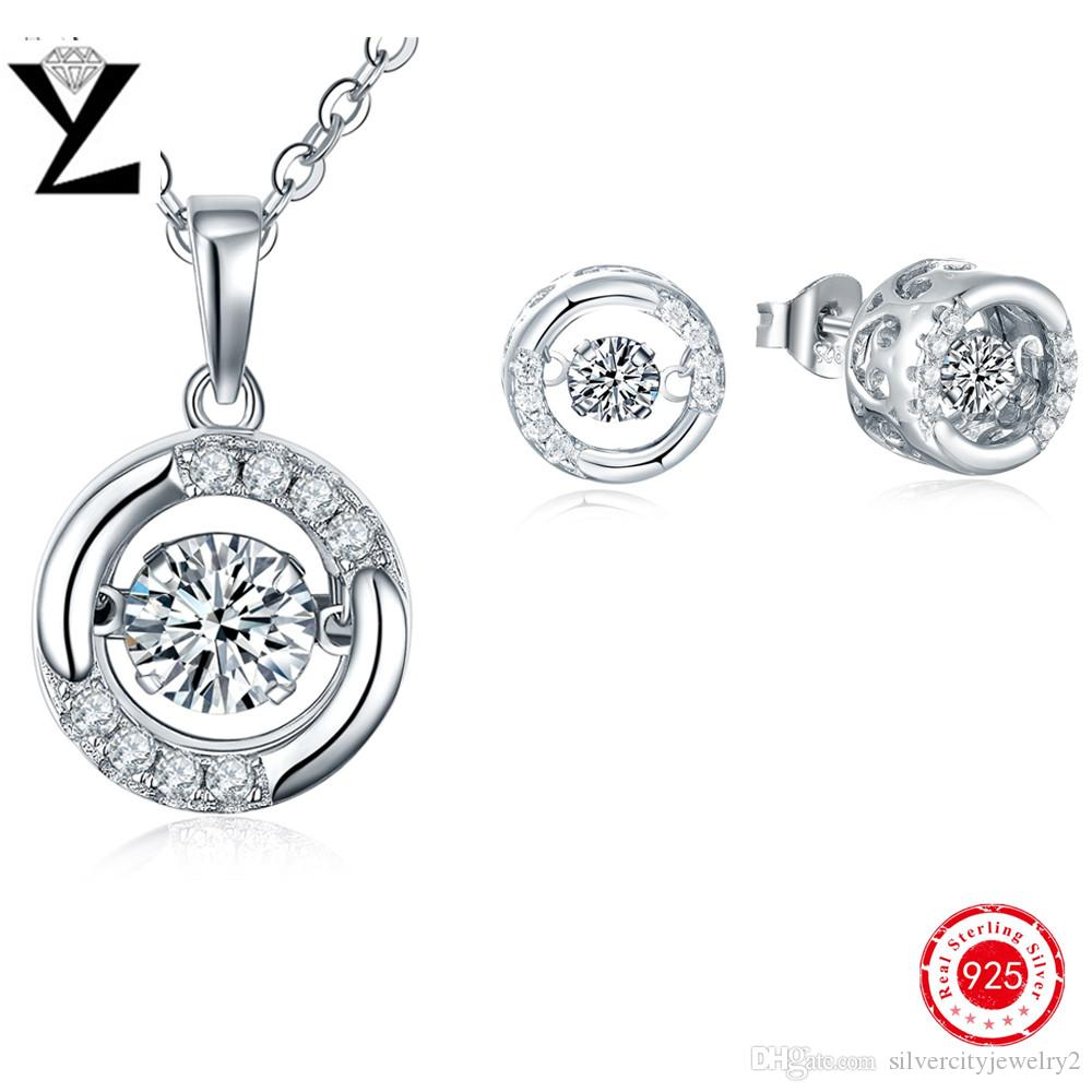 100% Fashion Round 925 Sterling Silver Earrings & Pendant Women Jewelry Set  Dancing Created Diamond Dance Jewelry Christmas Gift For Party Dancing  Diamond