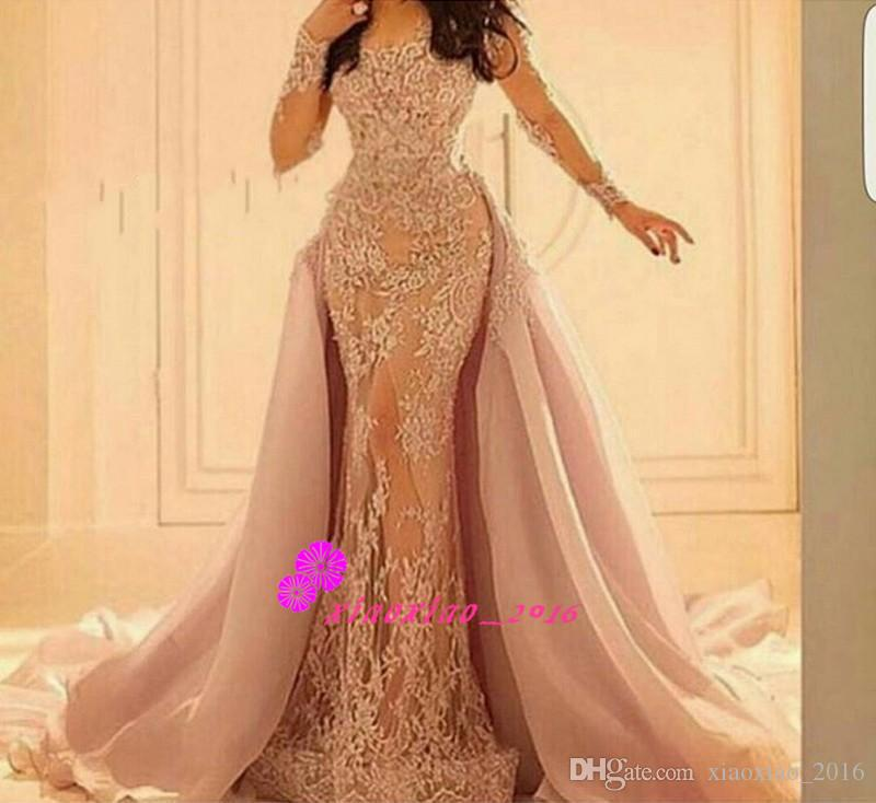 2016 Lace Illusion Long Sleeves Mermaid Evening Dresses
