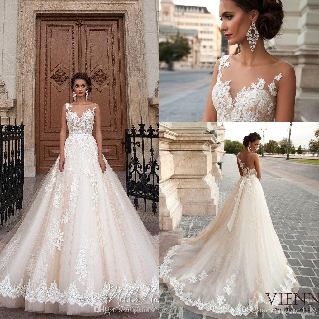 Discount Milla Nova 2017 Wedding Dresses Jewel Neck Lace Appliques Beaded A Line Court Train