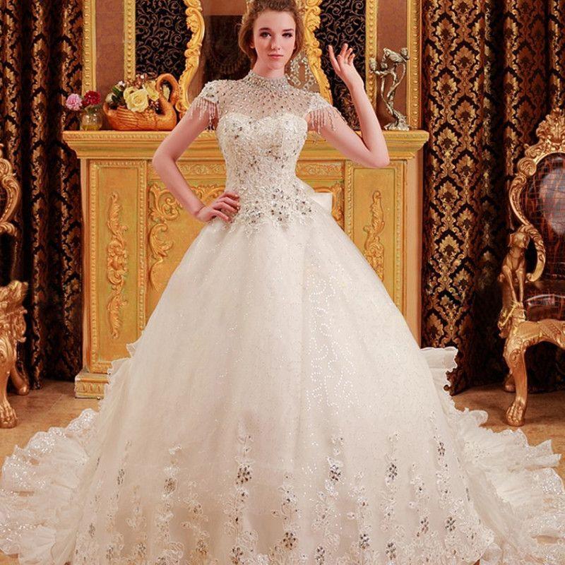 2015 luxury sheer high neck wedding dresses cap sleeves for Cheap wedding dresses canada