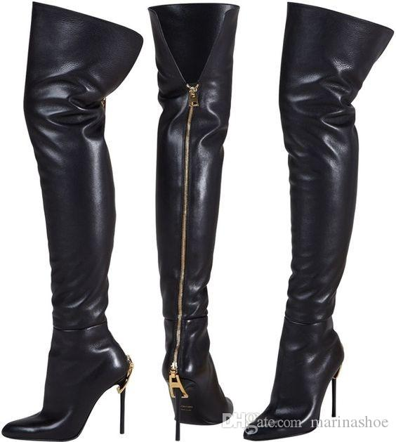 Sexy Over The Knee Women Boots Pointed Toe Zipper Heel Golden ...