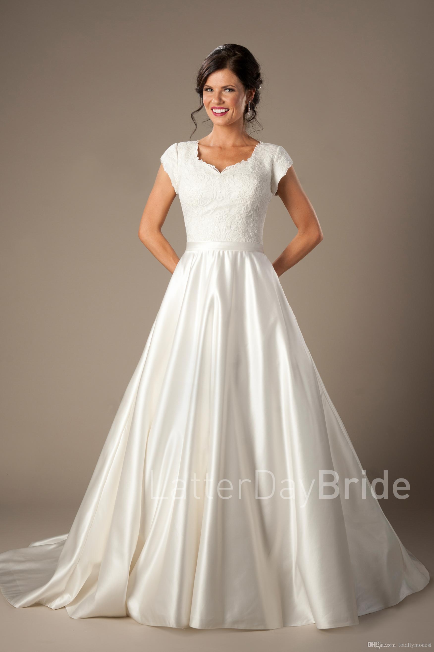 Discount Vestido De Noiva Vintage Lace Satin Modest