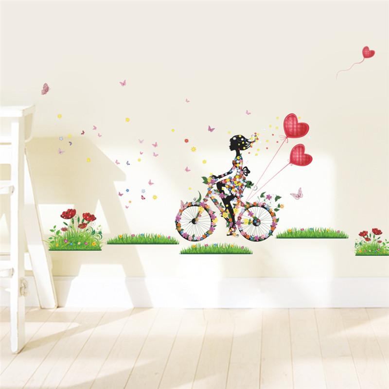 flower angel beauty butterfly flora red heart bike spring color wall sticker home decor diy girl - Wall Decals Designs