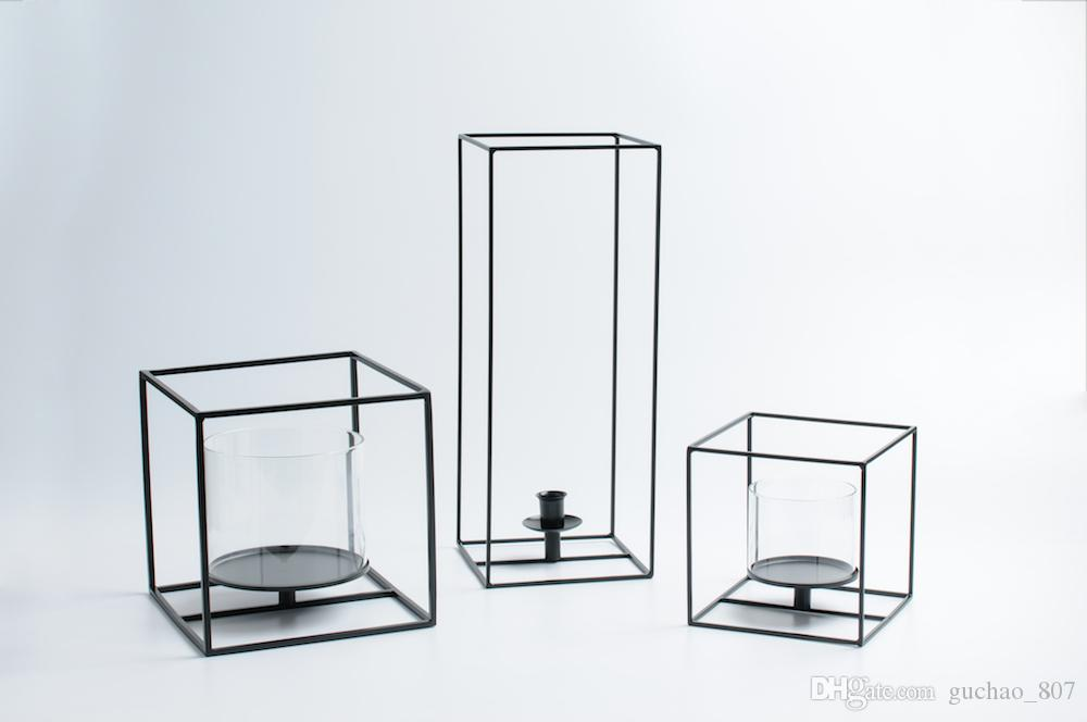 Simple Design Black Cuboid Square Candle Holder With