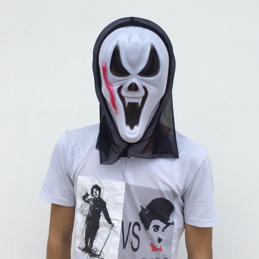 Halloween Ghost Mask Red Centipede Full Face White Mask Black ...