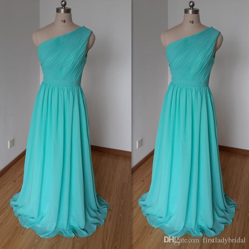 Real photos turquoise bridesmaid dresses 2016 one shoulder for Turquoise wedding guest dress