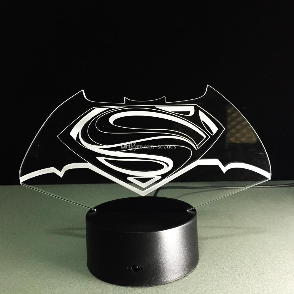2016 Hot Superman 3D Optical Night Light 9 LED Night Light DC 5V Colorful Commut