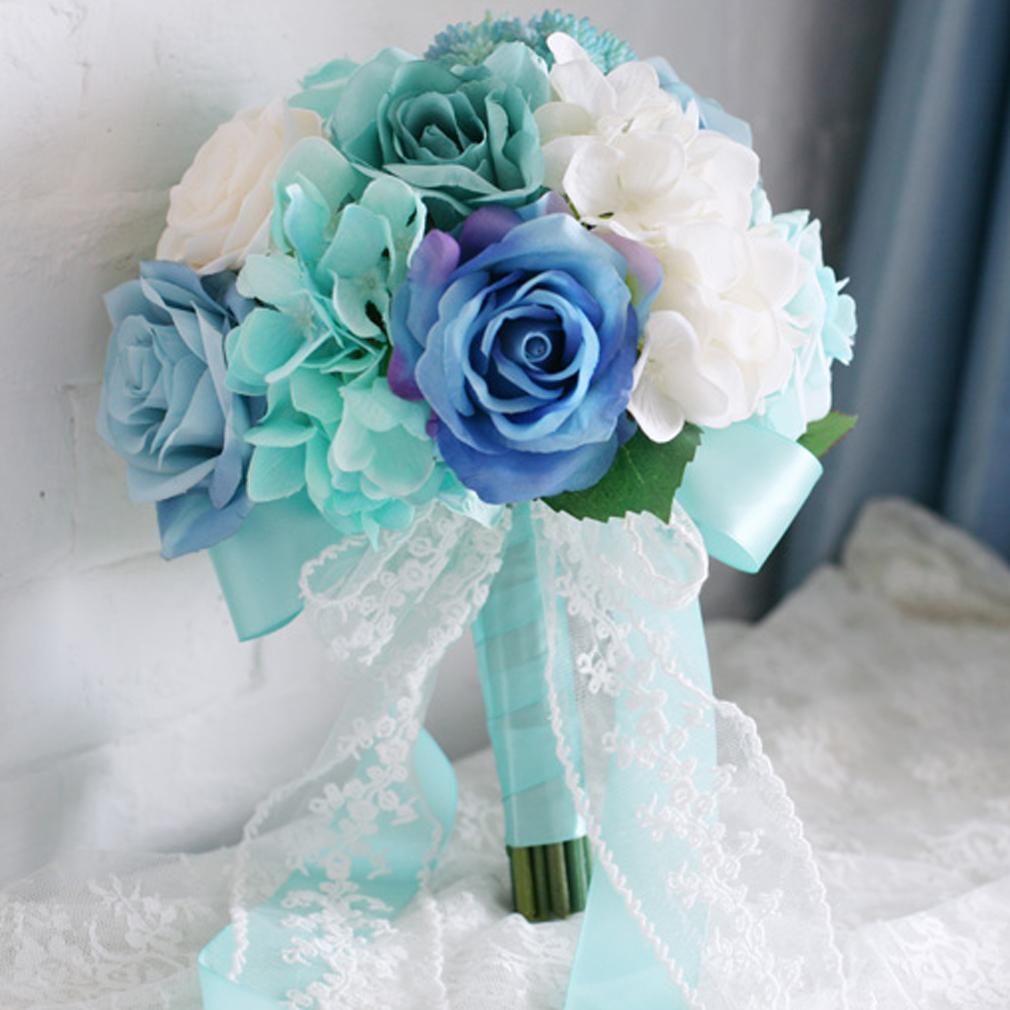 Ramo de novia 2016 baby blue light mint green bridal bouquet for wedding white purple silk roses - Light blue and mint green ...