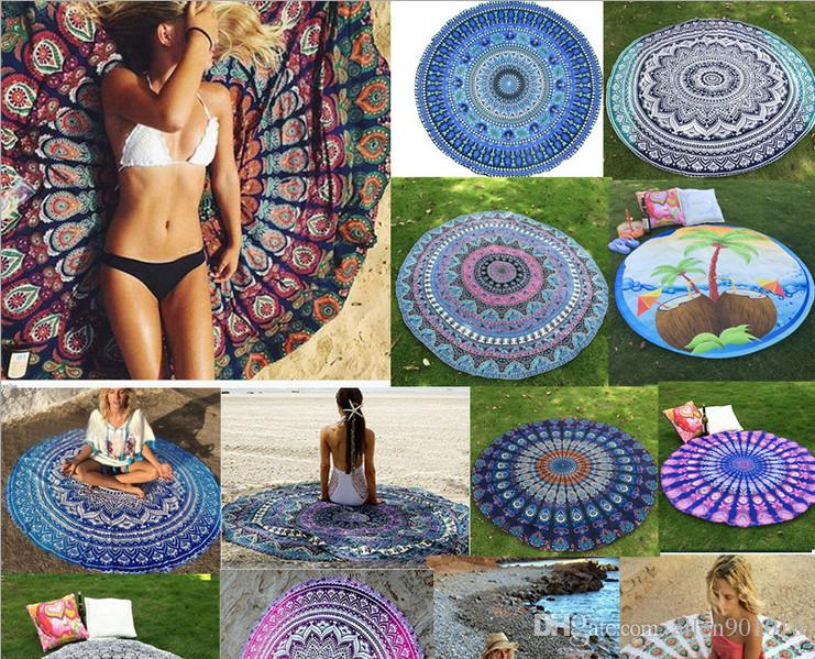 Indian Mandala Round Roundie Plage Throw Pad Tapisserie Hippy Boho Gypsy Coton N