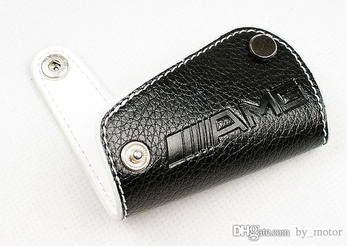 Am g real leather key cover w203 w212 w205 white key case for Mercedes benz key cover
