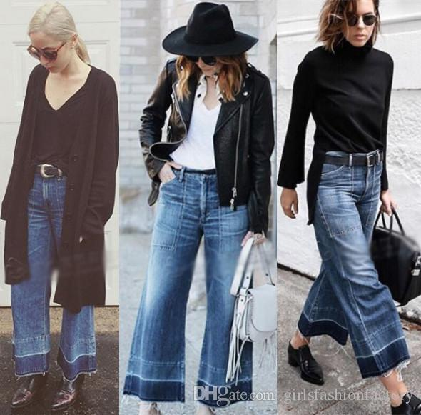 2017 2016 Coh Wide Leg Jeans Women High Waist Loose Jean Blue ...