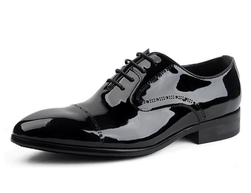 2016 cool black derby shoes mens business shoes patent