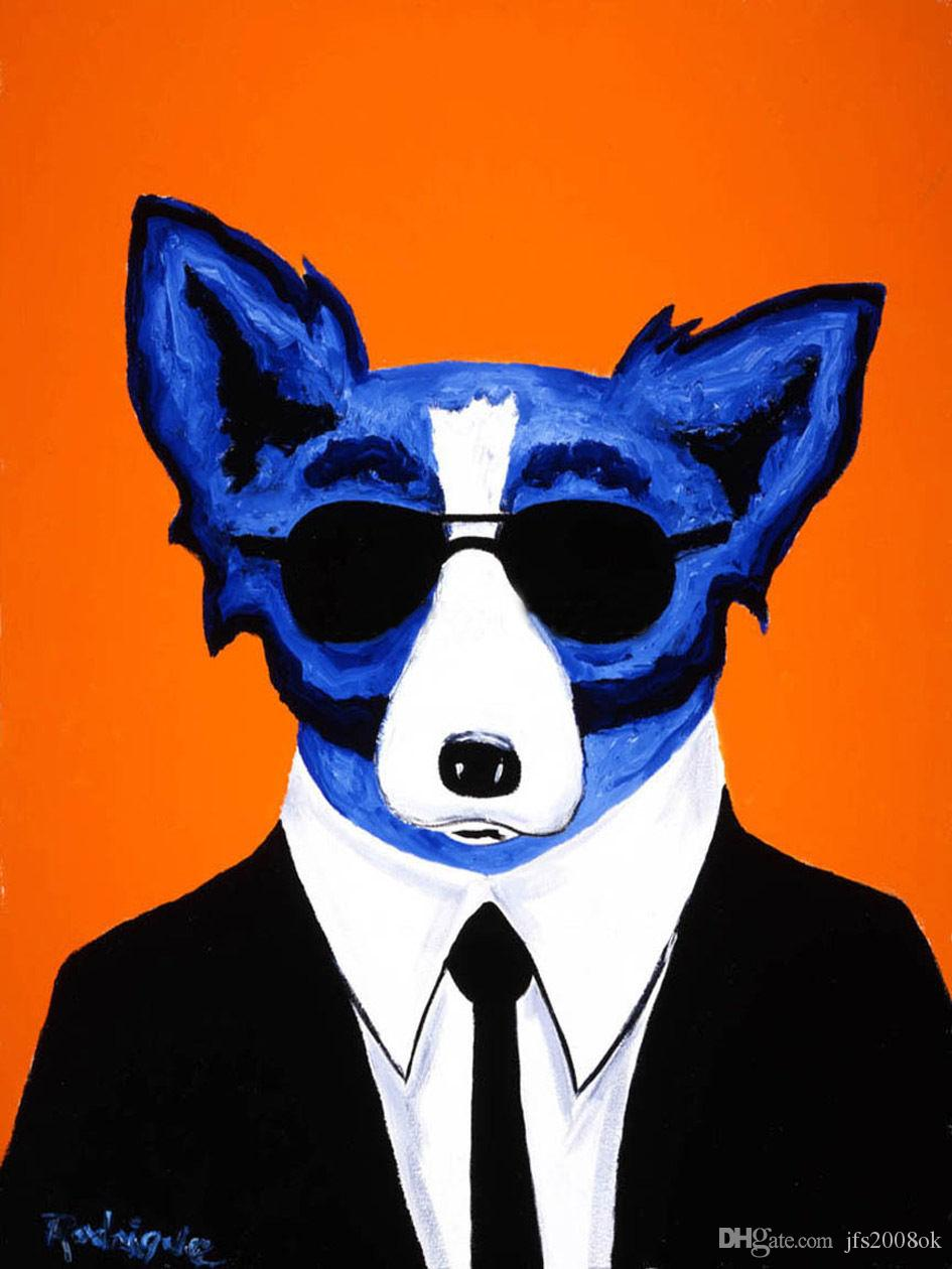framed cool blue dog with glasses  genuine high quality pure hand  - framed cool blue dog with glasses  genuine high quality pure hand paintedwall decor art oil painting on canvas mulit sizes handpainted art oilpainting