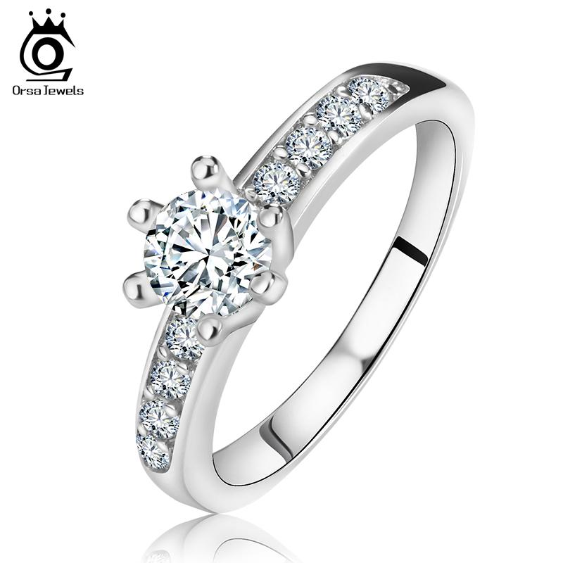 Fashion 925 Sterling Silver Rings Wholesale 3 Layer Platinum Plated with AAA