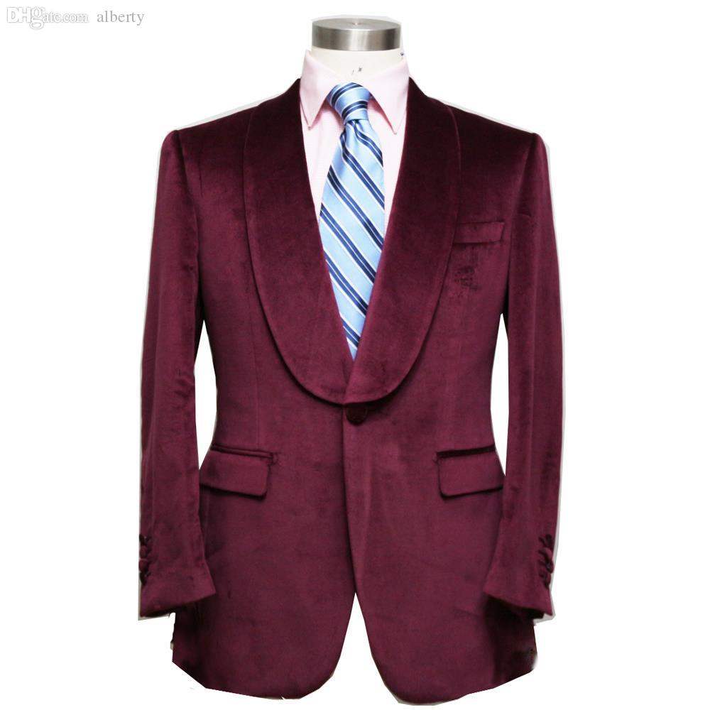 Wholesale-HUNDERSFIELD CLOTH Burgundy / RED WINE Velveteen Man's ...