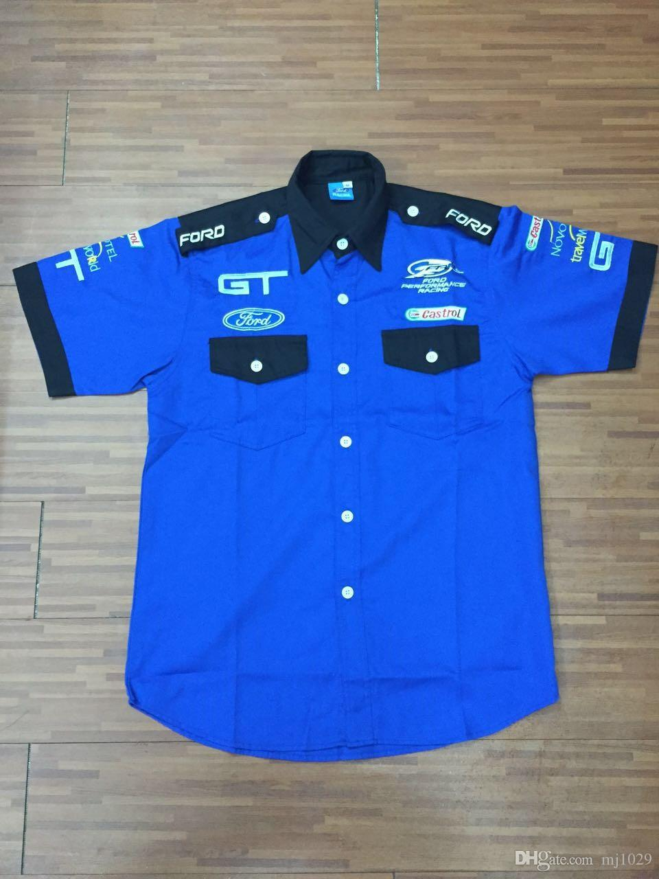 Logo embroidery for ford gt performance racing team shirts