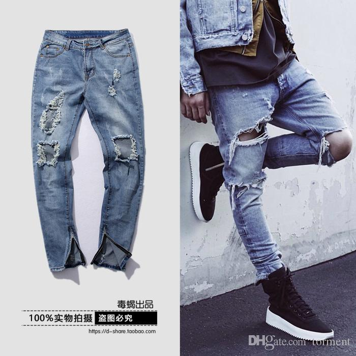 2017 2016 Fashion Hip Hop Ripped Jeans For Men Streetwear Clothing ...