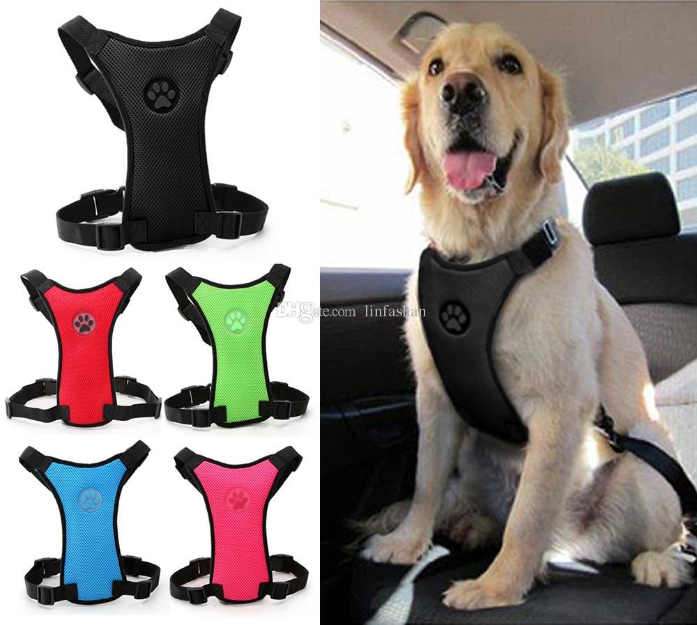 soft nylon mesh dog car seat harness safety dog vehicle cars seat belt harnesses black red blue colors for medium large dogs dog cars seat belt harnesses