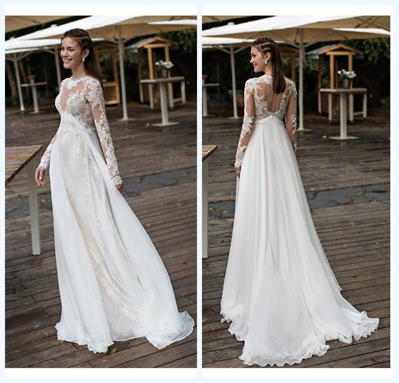 Empire maternity wedding dresses lace and chiffon long for Best wedding dresses for pregnant brides