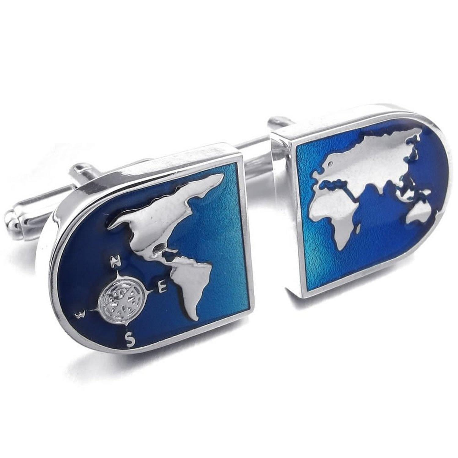 Color online world map - Jonline24h 2pcs Rhodium Plated Mens World Map Shirts Cufflinks Wedding Color Blue Silver 1