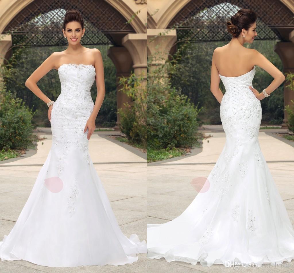 Elegant 2017 Strapless Wedding Dresses Mermaid Organza
