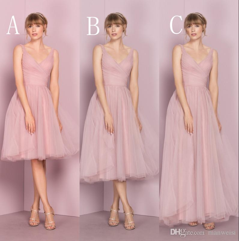 Cheap pink tulle bridesmaid dresses v neckline sleeveless for Sale dresses for wedding guests