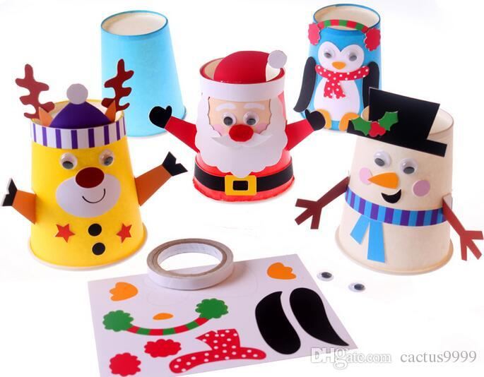 2016 Art Interesting Hand Made Material Package New Christmas Paper Cups Diy Paste Santa Snowman ...