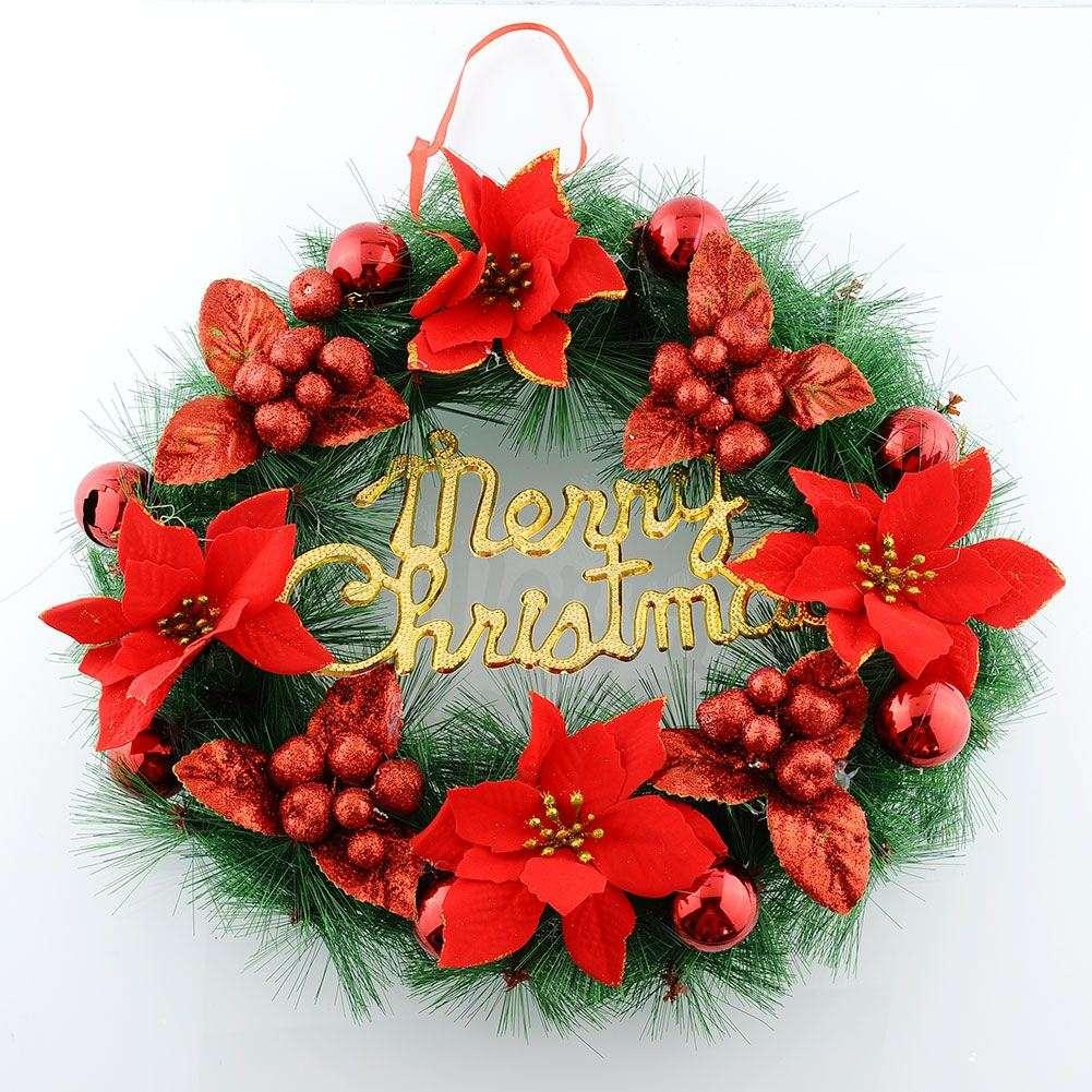 Christmas wreath ornaments - Best Quality Red Christmas Wreath Ornaments Christmas Tree Decoration Holiday Jingle Bell Garland Xmas Party Outdoor At Cheap Price Online Decorative