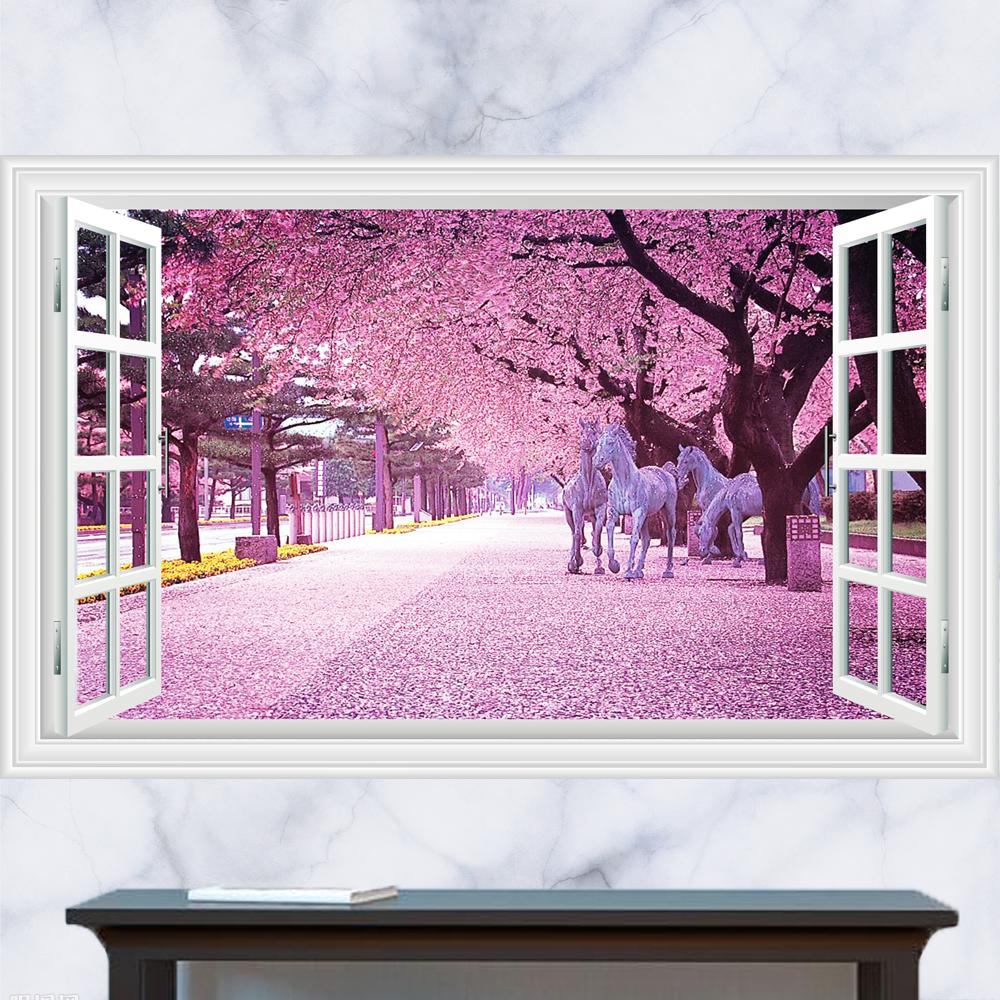 Cherry blossom tree wall stickers home design 3d generic windows flower horse cherry blossoms tree wall decal decor sticker kindergarten living room vinyl amipublicfo Image collections