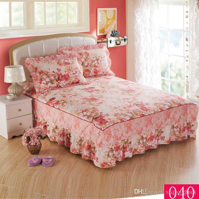 Beautiful Flowers Bedding Bedspread Cotton Bed Skirts ...
