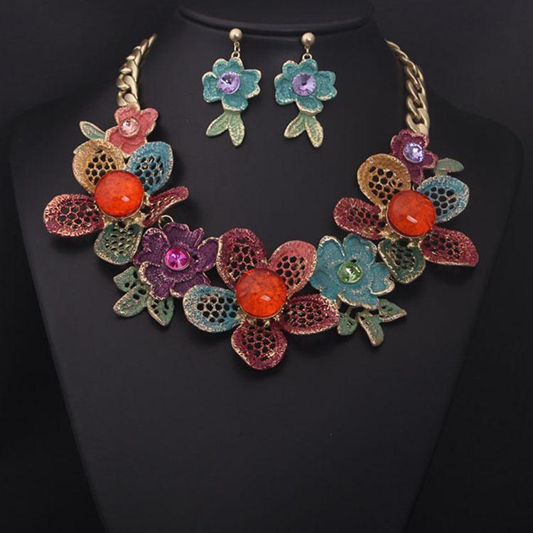 2017 european and american high end jewelry set colored
