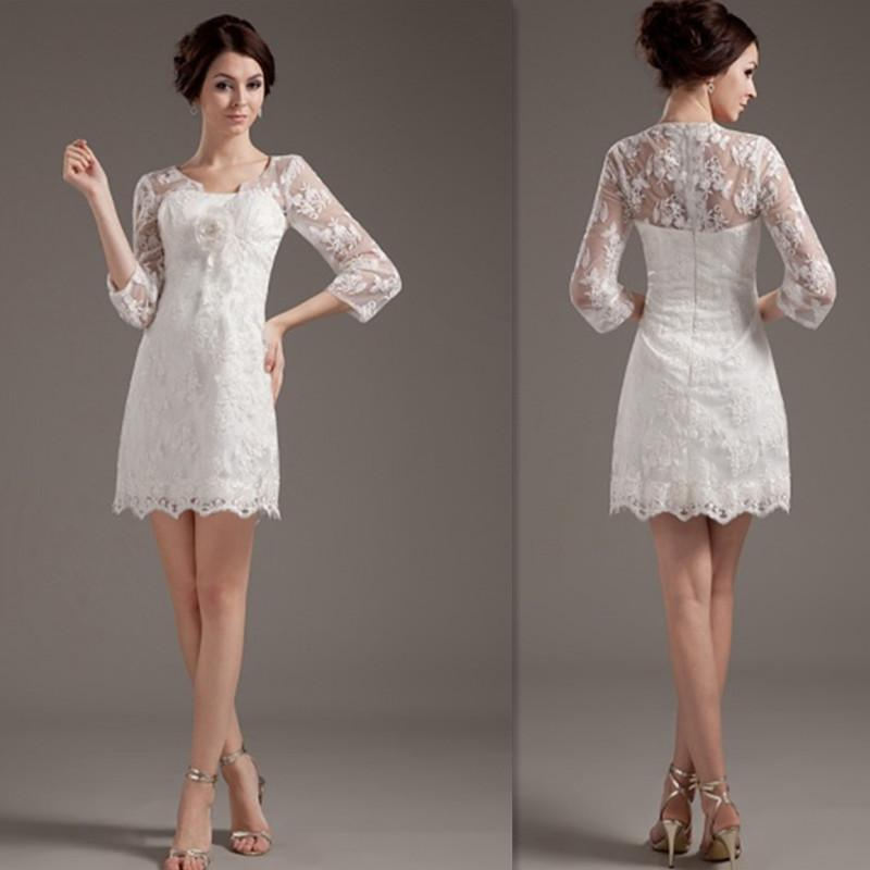 2015 sexy 3 4 sleeves short wedding dresses ivory lace for Sexy short wedding dress