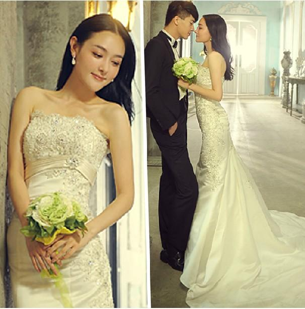 Korean lace bra trailing wedding long trailing wedding for Bra for wedding dress shopping