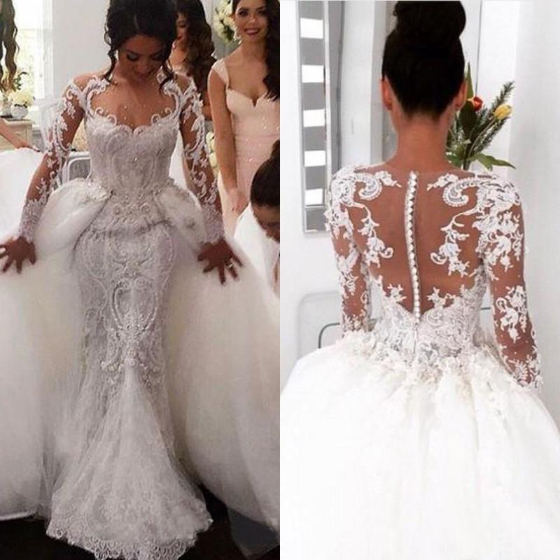 Wedding Dresses Lace Full Skirt : Arabic full lace mermaid wedding dresses with